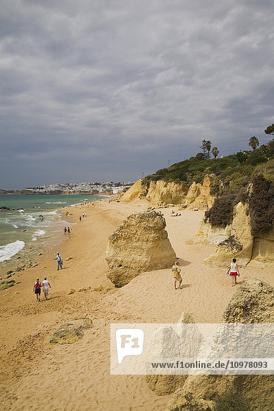 Beach At Albufeira In The Algarve Region  Portugal  Europe