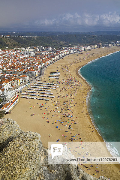 High-Angle View Of The Town Of Nazare And Beach  Estremadura  Portugal  Europe