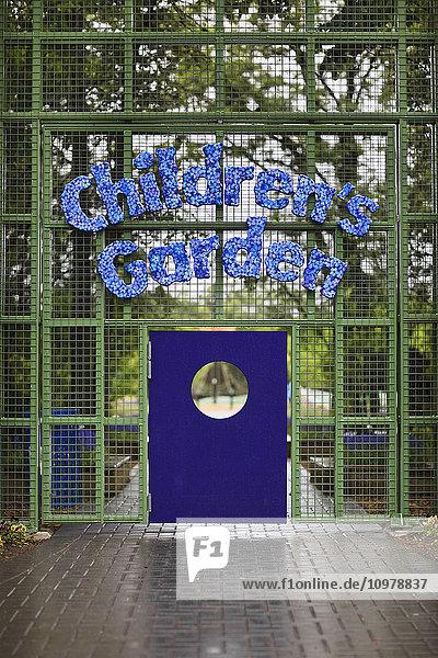 'Children's Garden entry gate in Assiniboine Park; Winnipeg  Manitoba  Canada'