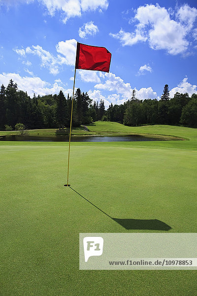 'Golf course green with red flag in hole; Hecla Island  Manitoba  Canada'