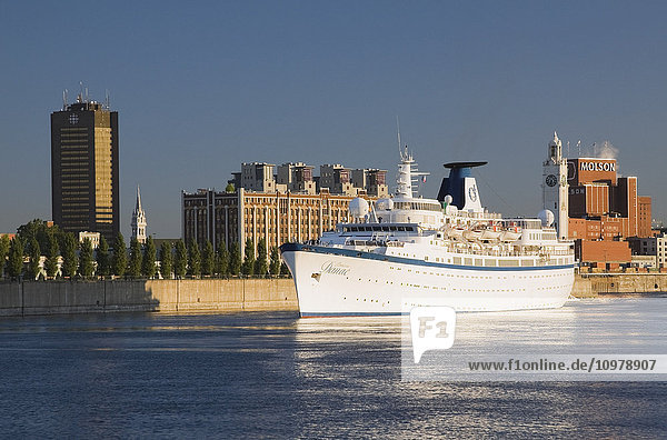 'Princess Danae cruise ship on the Saint Lawrence River by the Port of Montreal; Montreal  Quebec  Canada'