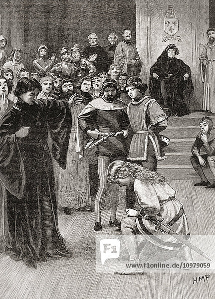 Joan of Arc at the court of Charles VII in 1429. Joan of Arc  c.1412-1431  aka The Maid of Orléans. Considered a heroine of France and a Roman Catholic saint. From Cassell's History of England  published c.1901