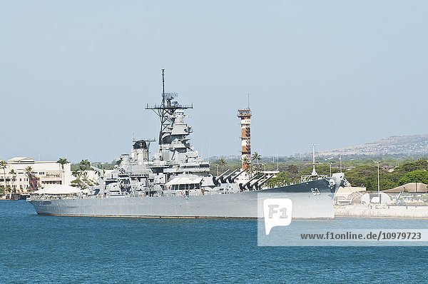 'View of the USS Missouri (BB-63) from the water in Pearl Harbor; Oahu  Hawaii  United States of America'