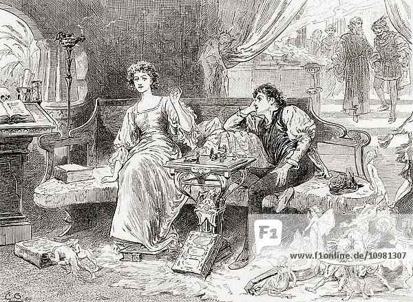 'A scene from William Shakespeare's play The Tempest. Act V  scene 1. Miranda: ''Sweet Lord  you play me false.'' Illustration by Gordon Browne. From The Works of William Shakespeare  published 1896.'