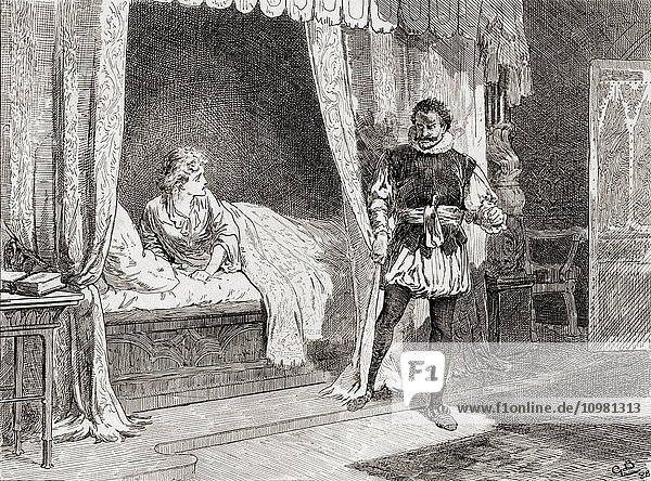 'A scene from William Shakespeare's play Othello. Act V  scene 2. Desdemona: ''Talk you of killing?'' Othello: ''Ay I do.'' Illustration by Gordon Browne. From The Works of William Shakespeare  published 1896.'
