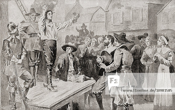 George Burroughs (c.1652 –1690) reciting the Lord's Prayer before his execution at Witches Hill  Salem  Massachusetts  on 19 August 1690  after being accused of witchcraft in the Salem witch trials. From The History of Our Country  published 1899.