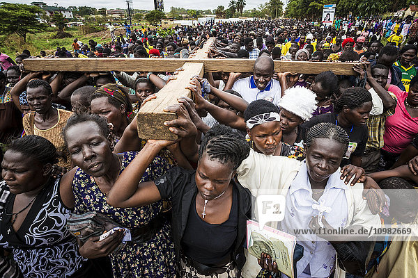 'Thousands gather on Good Friday to walk through the streets and proclaim the Gift of God; Gulu  Uganda'