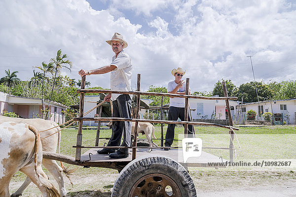 'A Cuban man and his teenaged son pose for a photo while riding in an ox cart used for farming and transportation; Matanzas  Cuba'