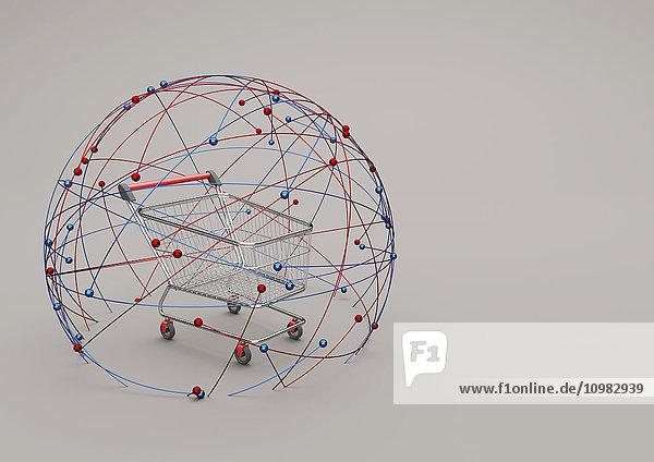 Online-Shopping  Warenkorb im Netzwerk  3D-Illustration