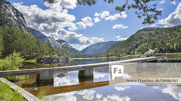 Norway  Southern Norway  Telemark  Fyresdal  lake and wooden boardwalk