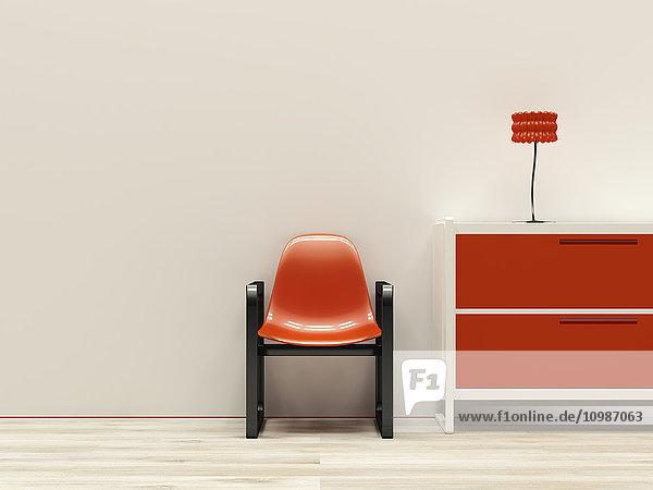 Rotes Interieur im Retro-Stil  3D-Rendering