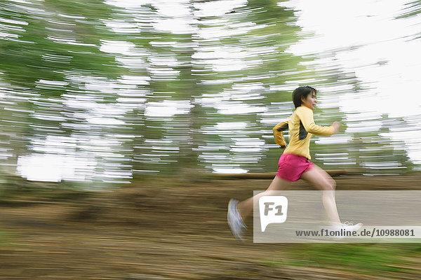 Young Japanese woman trail running at Mount Daibosatsu  Yamanashi Prefecture  Japan