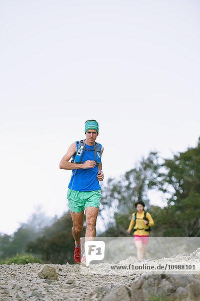 Trail runners at Mount Daibosatsu  Yamanashi Prefecture  Japan
