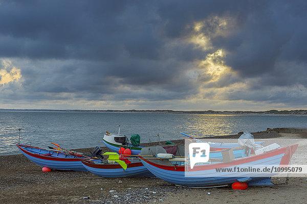 Colorful Fishing Boats on Beach  Klitmoller  North Jutland  Denmark