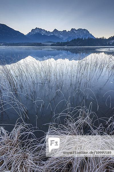 Karwendel Mountains Reflected in Lake Barmsee  Krun  Upper Bavaria  Bavaria  Germany