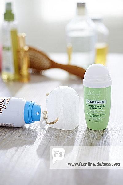 Spray  roll-on deodorants and alum stone.