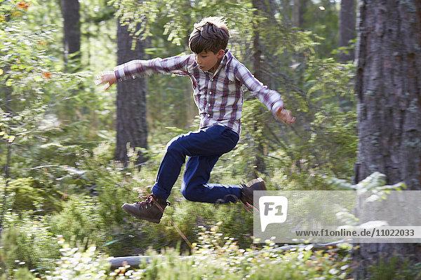 Energetischer Junge beim Springen im Wald