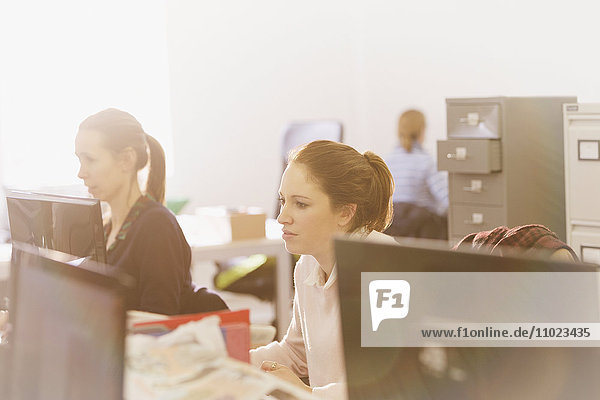 Businesswomen working at computers in messy sunny office