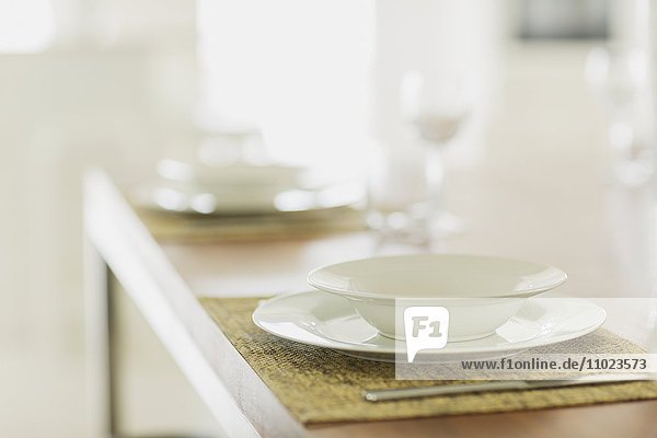 Close up placesetting on table