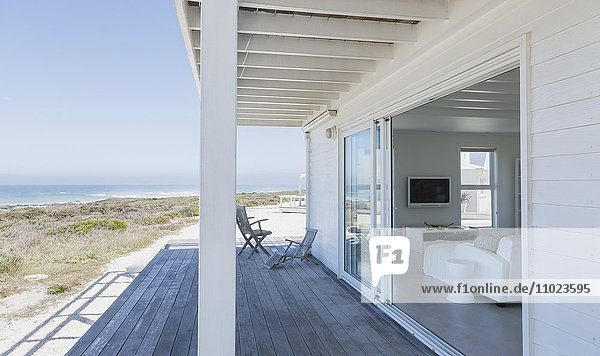 Beach house open living room and deck with ocean view