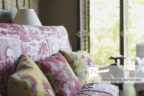 Floral cushions on toile sofa