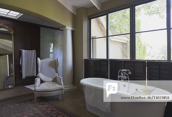 Home showcase soaking tub in luxury bathroom