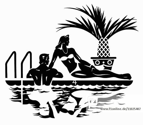 Elegantes Paar entspannt am Swimmingpool