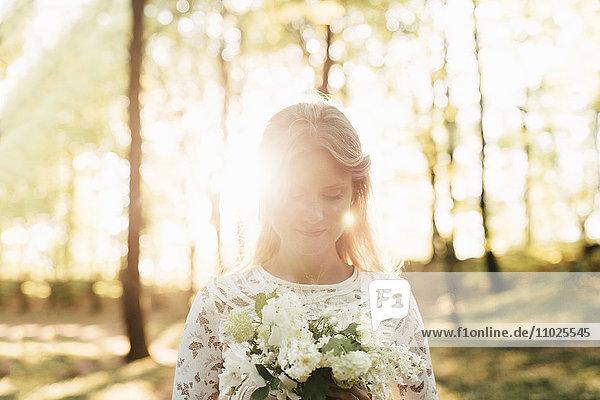 Portrait of beautiful bride in forest Portrait of beautiful bride in forest