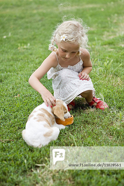Italy  girl playing with puppy