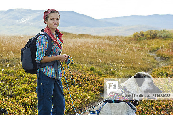 Scandinavia  Sweden  Norrland  Hemavan  young woman hiking with dog in mountains