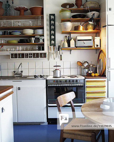 The interior of a kitchen.