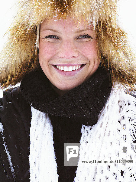 A woman dressed in winter clothes  portrait.