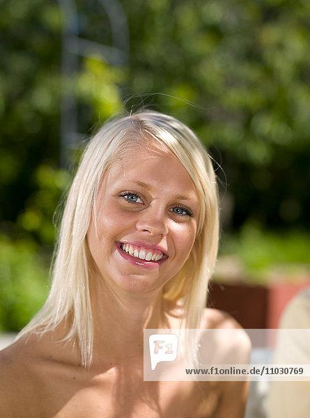 Close-up of woman  portrait  smiling