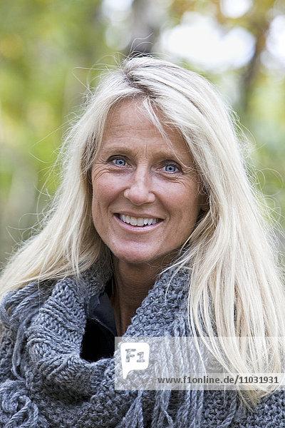 Portrait of senior smiling woman  Sweden