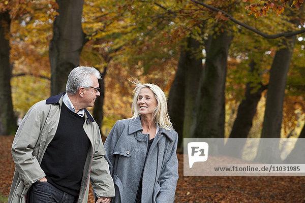 Senior couple walking through park  Gothenburg  Sweden
