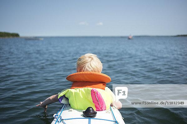 Boy on kayak  Karlskrona  Blekinge  Sweden