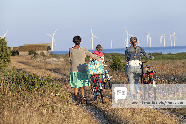 Mother with daughters cycling  Oland  Sweden