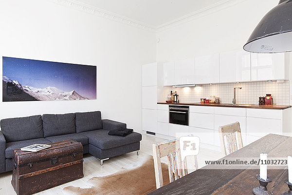 Modern living room with dining table