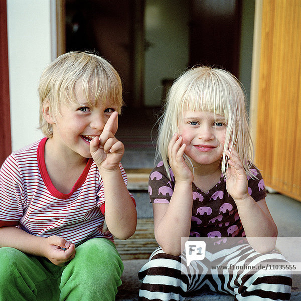A boy and a girl a summer''s day  Sweden.