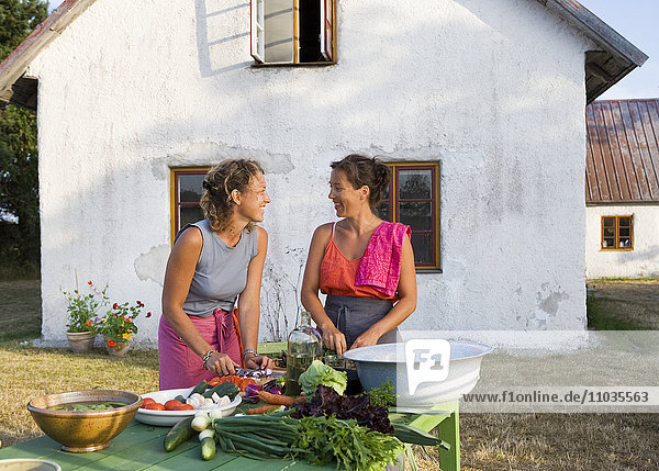 Two women cutting vegetables in a garden.