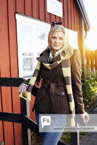 Portrait of a blond woman  Sweden.