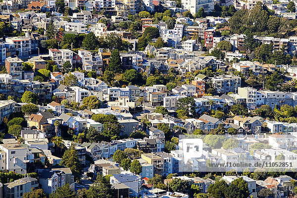 Aerial view of San Francisco cityscape  California  United States
