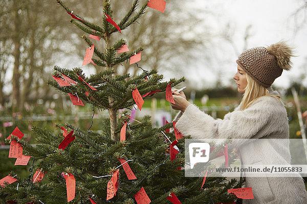 Eine Frau liest handgeschriebene rote Etiketten  die an die Zweige eines Weihnachtsbaums gebunden sind.
