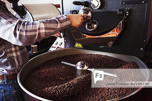 Spezialisiertes Kaffeehaus. Kaffeebohnen  die in einer Trommel geröstet und mit einem Metallschaufel gerührt werden.