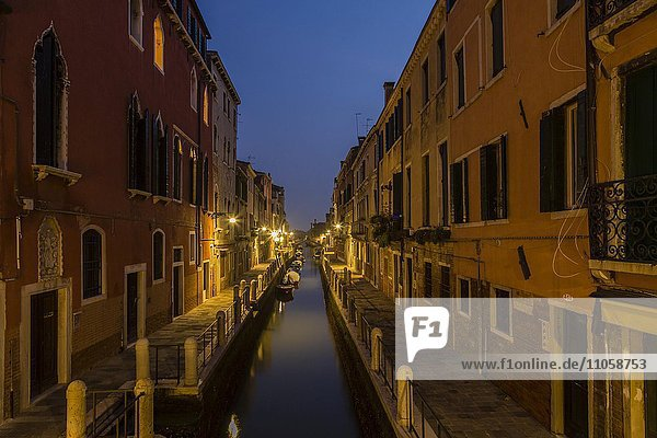 Evening mood at a canal  blue hour  Venice  Italy  Europe