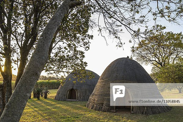 Beehive huts  Round huts made of bamboo  museum village  Kingdom of Swaziland