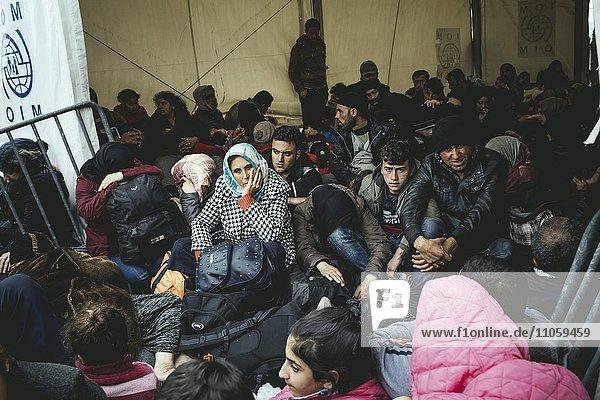 Idomeni refugee camp on Greek Macedonia border  refugees waiting at the checkpoint  Idomeni  Central Macedonia  Greece  Europe