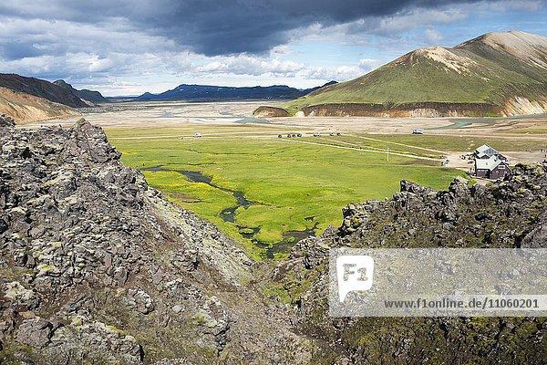 Vulkanische Landschaft  Landmannalaugar  Fjallabak Nationalpark  Island  Europa