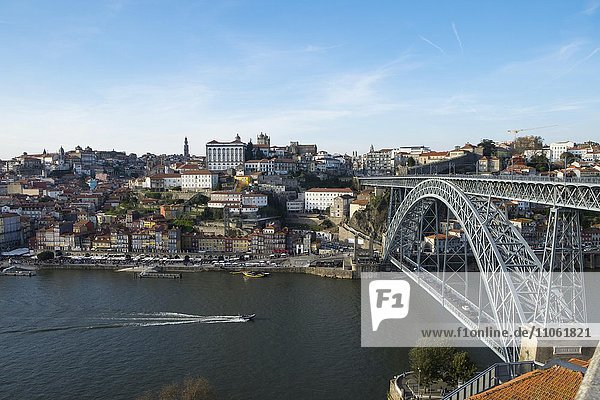 Overlooking Ponte Dom Luís I and historic centre of Ribeira  Porto  Portugal  Europe