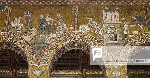 Byzantinische Mosaiken  Trunkenheit des Noah und Turmbau zu Babel  Südwand Mittelschiff  Altes Testament  Dom von Monreale oder Kathedrale Santa Maria Nuova  Monreale  Provinz Palermo  Sizilien  Italien  Europa